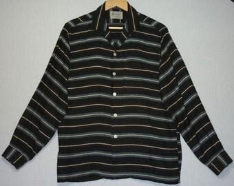 1950s Shirt / S / Gradation Stripe / Rockabilly Shirt / Loop Collar / Gene Vincent / Stage / Vintage 1950s Mens Shirt / RnR / Small / 50s