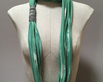 Jersey Scarf - Green - Repurposed T Shirt, Up-cycled, Eco-friendly, Woman, Girl