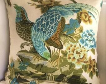 "Pillow Cover Pheasant Game Birds Linen Brown Aqua Green 18"" Square"