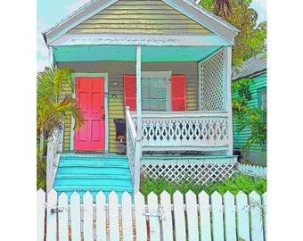 Key West Conch House Picket Fence Giclee Print 8x10 16x20 - Pink Door - Korpita