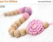 SUPER SALE Certified Organic Teething Necklace in pastel baby pink, lavender and crochet flower. Breastfeeding/Nursing mom accessory