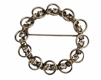 Silver Rhinestone wreath brooch round  mid century pin