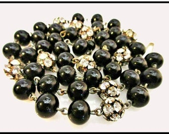 Vintage Necklace Black glass and Rhinestone Rondelle bead