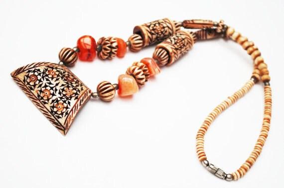 Boho Necklace - Carved Bone,- carnelian jasper gemstone bead - tribal -hippie