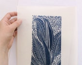 linocut - OPENING - 9x12 / printmaking / block print / blue / leaf, leaves / nature art / houseplant / limited edition