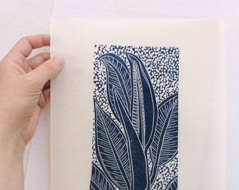 linocut - OPENING - 9x12 / printmaking / block print / blue / leaf, leaves / nature art / houseplant / limited edition