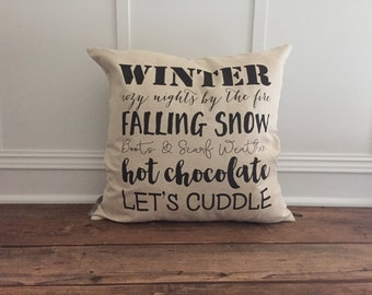 Winter Words Pillow Cover