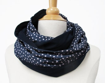 large infinity scarf blue snood with stars loop circle shawl flowerd Jersey handmade fabric big