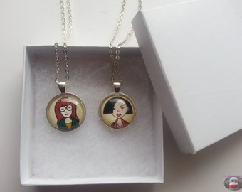 Daria Jane Couples Necklace BFF Glass Pendant Necklace