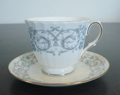 Duchess China Blue & Grey Floral Teacup