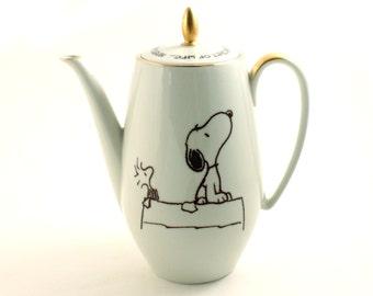 Snoopy Woodstock Peanuts Vintage Porcelain Coffee pot Altered Comic Charles M. Schulz Gold Rim Sugar White Brown Positive Encouragement