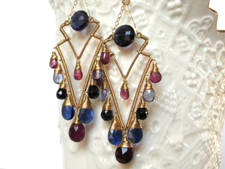 luxury gemstone earrings handmade wire wrapped jewelry