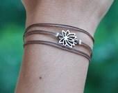 Lotus bracelet, wrapped bracelet with Tibetan silver Lotus charm, Hindu symbol, brown, gift for her, yoga bracelet, lucky charm, spiritual