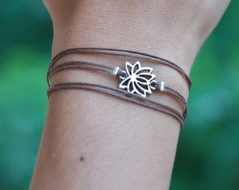 Lotus bracelet, wrapped bracelet with Tibetan silver Lotus charm, Hindu symbol, brown, gift for her, yoga bracelet, lucky charm, spiritual