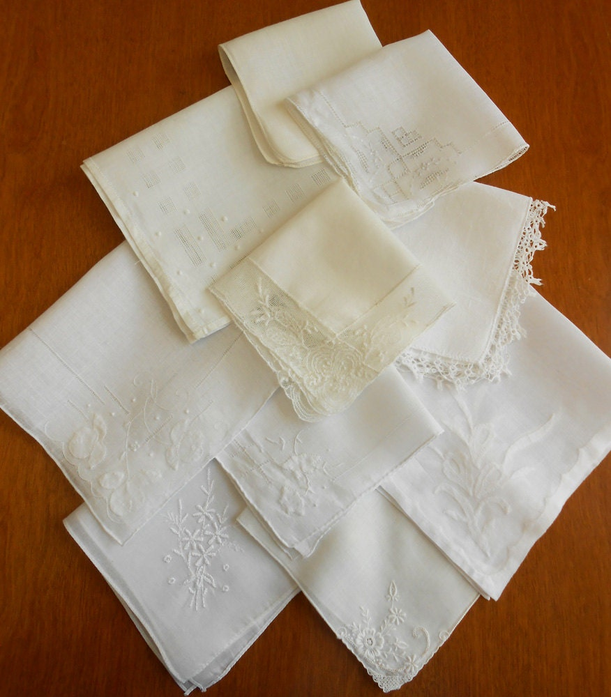 Lot Of 10 Hankies Vintage White Ivory Wedding Handkerchief
