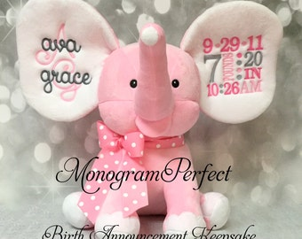 New Exclusive Light Pink Personalized Birth Announcement Elephant
