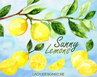 Sunny Lemon Watercolor Painting, Leaf Print, Plant Watercolor Print, Leaf Art, Garden Leaf Watercolor Painting, Lemons, Sunny