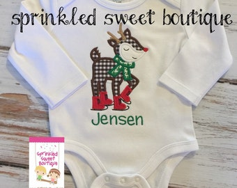 Ruldolph Reindeer Ice Skating Cute Merry Christmas Holiday Custom Shirt Onesie Boy Matching Sister Too