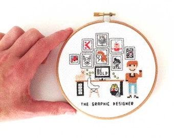 2 x graphic designer cross stitch pattern. Gift for graphic designer. Original gift ideas for graphic designers. Handmade gift ideas