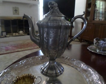 Vintage Lovely Silverplate Ornate Teapot with Raspberries Finial-Coffee Pot/Serving
