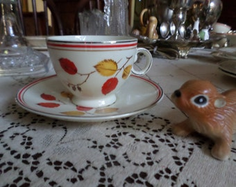 Very Rare TST-Taylor Smith Taylor Autumn-Red/Yellow Leaves/Platinum/Red Trim-Teacup & Saucer Set