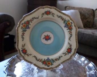 """John Maddock & SOns England-Regd Shape-Minerva-9"""" Salad Plate-Blue Center-Fruit Basked Design"""