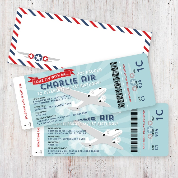Airplane Ticket Boarding Pass Birthday Invitation: Airplane Birthday Invitation Boarding Pass And By