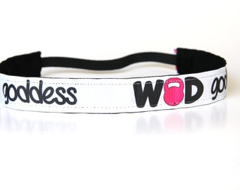 WOD Goddess NonSlip Headband, Fitness Accessory, CrossFit Headband, Workout Apparel, Gift Under 10, Kettlebell Accessory, Exercise Gift