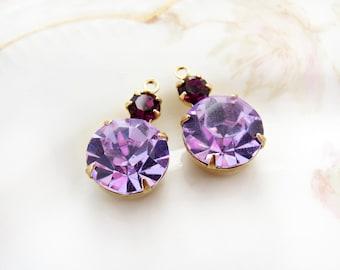 Swarovski Rhinestone Drops Violet and Amethyst 11mm Round Stones Brass Drop Settings - 2