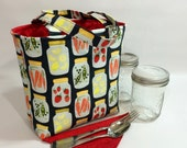 Mason jar carrier bag - Pint 2-jar Jars to Go - canning print mason canning jar lunch tote cozy