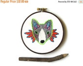 CLOSING SALE - ON Sale! Fox Hand Embroidery Hoop Art : Princess Warrior Fox Embroidered Hoop (with MountRoyalMint) - Woodland Autumn Home De