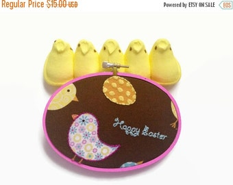 SHOP CLOSING SALE - Cute Easter Decor - Bright Embroidery Hoop / Hand Embroidered Art - chick, easter egg, happy easter in bright colors - g