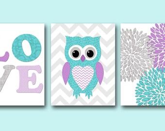 Purple Teal Grey Owl Nursery Canvas Print Flowers Nursery Art Baby Girl Nursery Decor Children Art Print Baby Nursery Print set of 3