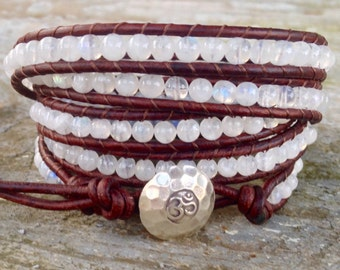white moonstone beaded leather wrap bracelet rainbow moonstone and black cord 5 strand wrap around