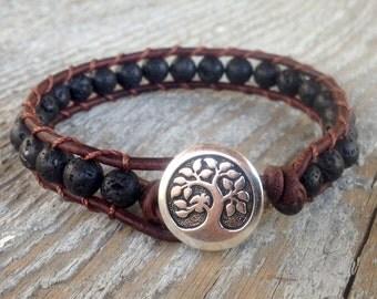 lava rock beaded leather wrap bracelet black tree for guys and girls men women