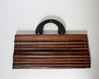 Vintage Wood Slat Purse Long Bag Top Handel Two Tone Brown Wooden Slats Vintage Bag