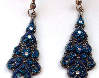 blue earrings polymer clay watermark crystals fimo oriental indian fashion