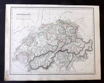 Chambers 1857 Antique Map. Switzerland