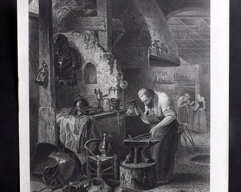 After Leys C1860 Art Journal Print. The Armourer