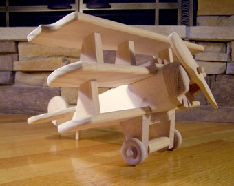 Handmade Wooden Red Baron airplane Toy