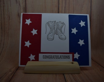 Military-congratulations-graduation-Army-combat boots-red, white and blue colors-star cutouts