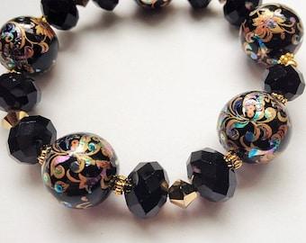 Ready to ship, Tensha Bead Bracelet, Black Bracelet, Unique Bracelet, One of a Kind, On Sale