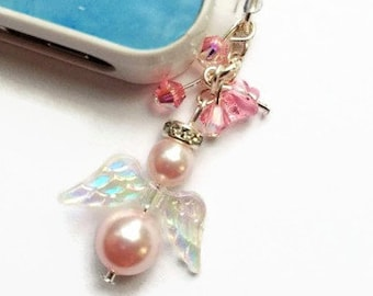 Cell Phone Charm, Dust Plug, Angel Charm, Pink Charm, Inspirational Cell Charm, Swarovski