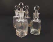 "Four Small Glass Bottles With Glass Stoppers - Bottles - Glass Stoppers - Mix and Match Small 4"" Bottles - Possible Medicine Bottles"