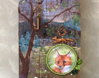 fox icon mixed media wall art OOAK