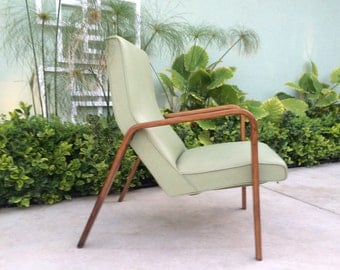 Mid Century Modern Green Vegan Leather Thonet Bentwood Accent Chair EXCELLENT MCM Home Decor Furniture Seating Desk Occasional Chair