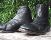 Paul Smith Black Leather Boots Zipper Back Made In Italy Size 40