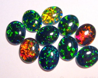 Synthetic Loose Triplet Opal Stones.10 x 8 mm Oval. 10 Pieces. Item 100254.