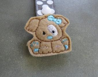 Pacifier Leash Paci Clip - Puppy with Blue Bow Feltie Metal Pacifier Clip