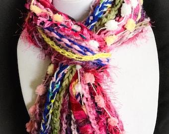Handmade scarf - Pink Fringe Scarf - - Bright scarf - Fuchsia - Blue - High Fashion Scarf - Crochet - fun accessory - warm - soft - light